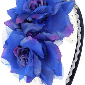 Girls Royal Blue Organza & Satin Double Flower Headband