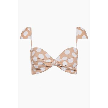 Cabana Cap Sleeve Bikini Top - Peach & White Polka Dot Print