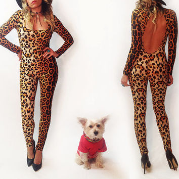Killer Vintage 1980's Leopard Catsuit || Size Small Pin Up Rockabilly Playsuit Cheetah Onesuit Size Small