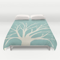 Teal and Cream Tree Duvet Cover or Comforter, tree silhouette beautiful, bedroom, modern decor