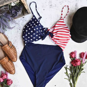 seeing stars - american flag print one piece - multi