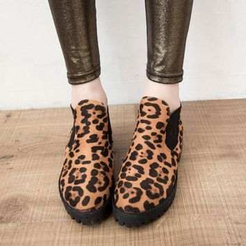 ESBONG Leopard Vintage Round-toe Thick Crust Ankle Dr Martens Shoes Boots [9432940810]