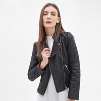 Black Long Sleeves Quilted  Zipper Faux Leather Jacket