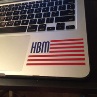 "FREE SHIPPING Two Colored Personalized Flag 4"" Decal with Monogram 