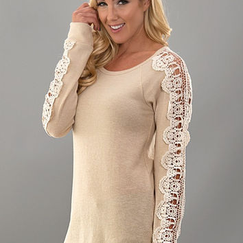 Crochet Sleeve Knit Top - Taupe