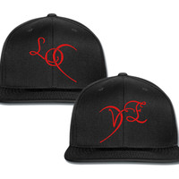 love heart 2 couple matching snapback cap