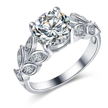 Crystal Flower Wedding Engagement Ring
