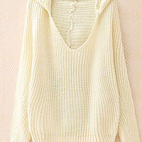 Leisure Batwing Sleeve Hooded Knit Sweater