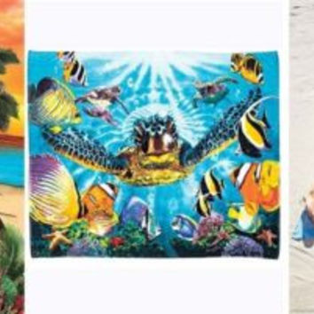"Beach Towel Blanket Extra Large Over-Sized 54""x 68"" Sea Turtle Island Sun & Moon"