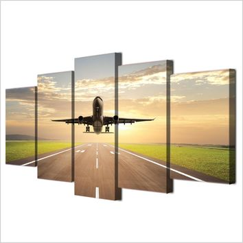 5 piece canvas art print taking off plane jet aircraft canvas painting wall