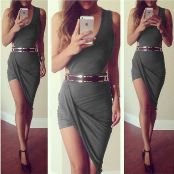 ummer dress 2015 new asymmetrical Dress sexy party elegant bandage casual mini short sleeveless red black grey white prom evening Cocktail bodycon nightclub Dress