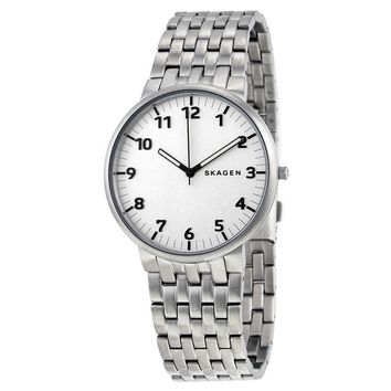 Skagen Ancher Silver Dial Stainless Steel Mens Watch SKW6200