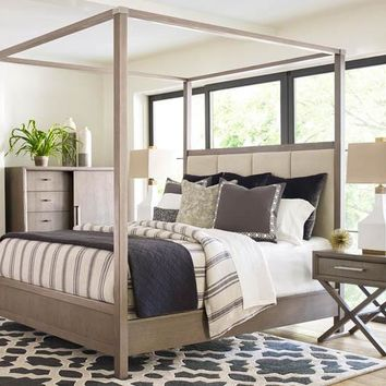6000-4505K Highline Complete Upholstered Poster Queen Bed with Canopy