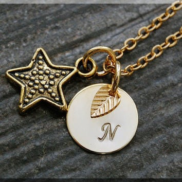 Gold Star Charm Necklace, Initial Charm Necklace, Personalized, Celestial Pendant, Celestial Jewelry, Dotted Star Monogram Necklace
