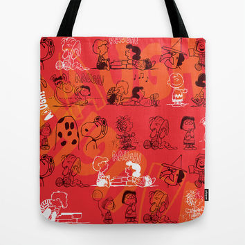 SNOOPY AAUGH! Tote Bag by Hardkitty