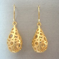 Gold Bubble Teardrops EarringsBridesmaids Jewelry, Bridal Jewelry
