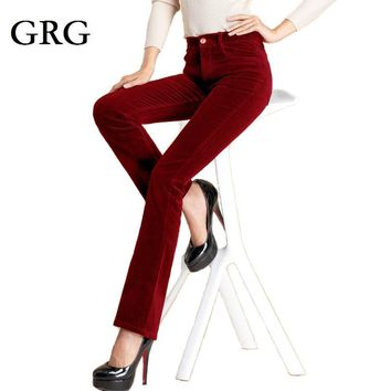 Free Shipping Women's Autumn Corduroy Boot Cut Pants Female Mid Waist Business casual Candy Color flares Corduroy Trousers 25-36