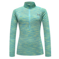 Under Armour Woman Zipper Sport Gym Yoga Running Long Sleeve Shirt Top Tee