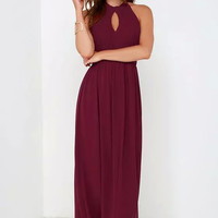 Red Halter Keyhole Backless Maxi Dress