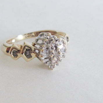 10k Estate Vintage Natural Round Baguette Diamond Gold Art Deco Edwardian Georgian style Antique Navette Marquis Ballerina Engagement Ring