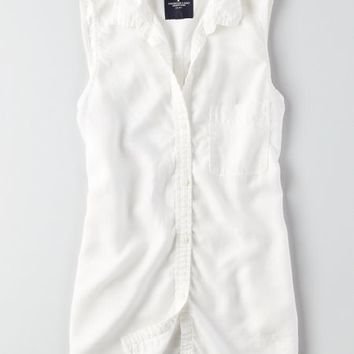 AEO Sleeveless Button Down Shirt , White | American Eagle Outfitters