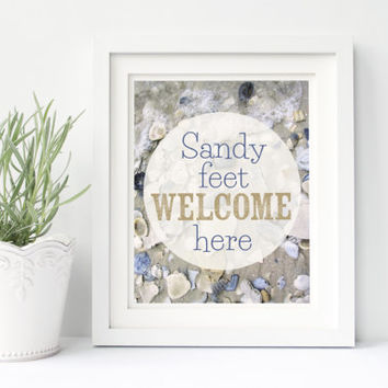 Beach decor, beach house signs, beach quotes, beach home decor, beach wall art, beach wall decor, sandy feet welcome here, sea shell print