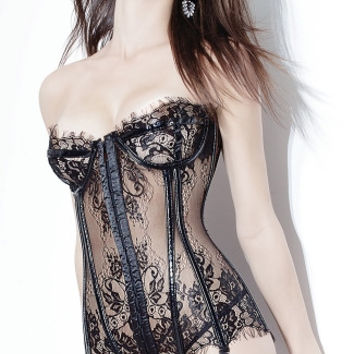 PVC and Lace Bustier