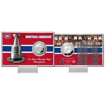 Montreal Canadiens NHL Montreal Canadians Stanley Cup inHistoryin Silver Coin Card