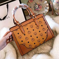 MCM 2018 new trend fashion handbag shoulder slung handbag brown