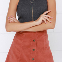 Rust Red Corduroy A-Line Skirt