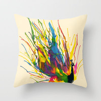 Colorful Peacock Throw Pillow by Tobe Fonseca