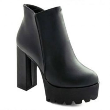 Simple Style Platform and Chunky Heel Design Women's Black Ankle Boots