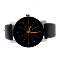 Noir Unique Star/Snowflake Design Female Business Watches Casual Round Case Dress Watches