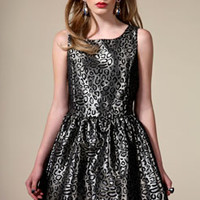Boutique Macey Leopard Flocked Brocade Full Skirt Prom Dress