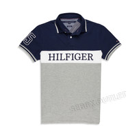 Tommy Hilfiger Polo Shirt Custom Fit Pieced Polo Blue & Gray
