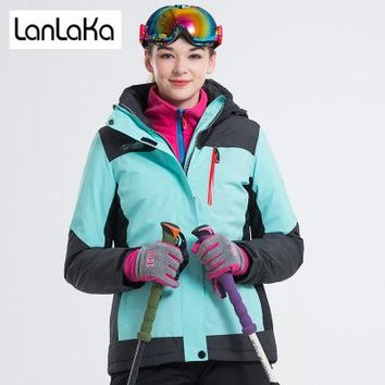 LANLAKA NEW Brand Ski Jacket Women Skiing Snowboarding jackets Warm Snow Coat Breathable 7 Color Optional Ski Jackets Female