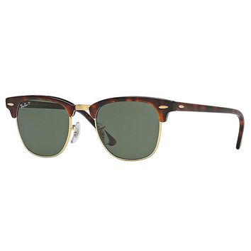 Ray-Ban Men's Polarized Clubmaster RB3016-990/58-49 Brown Round Sunglasses