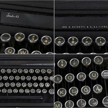 Working Typewriter, Olivetti Typewriter, Olivetti Studio 42 German Typewriter, Vintage Working Typewriter, Old Typewriter, 1930's Typewriter