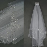 2T White/ivory Elbow Beaded Edge Pearl Sequins Bridal Wedding Veil With Comb [7983356935]