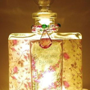 #9 Shabby Roses Perfume Bottle Nightlight ( Night Light )