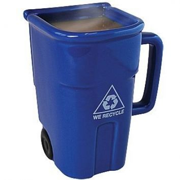Recycle Bin-shaped Coffee Mug 12-oz. (Blue) or Cool Pencil Cup for Your Desk