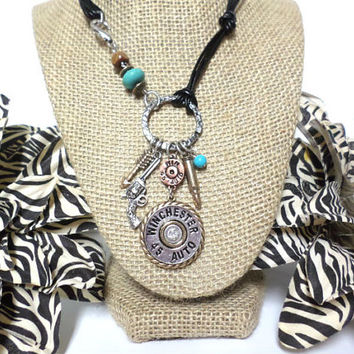 Boho Silver, gold, and copper  turquoise bead crystal Winchester 45 bullet arrow pistol multi-strand black leather cord knot necklace,gift