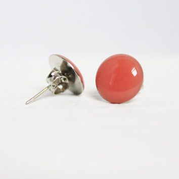 Grapefruit Pink Earrings, Stud Earrings, Resin Jewelry, Hypoallergenic Earrings
