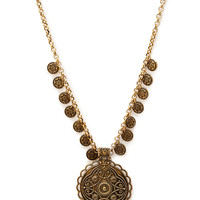 Etched Coin Medallion Necklace