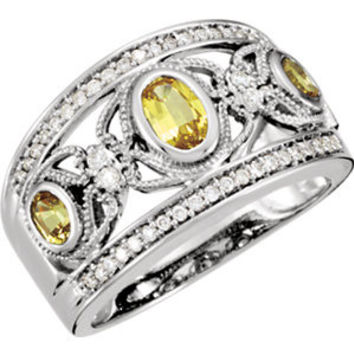 14K White Canary Yellow Sapphire & 1-4 CTW Diamond Ring