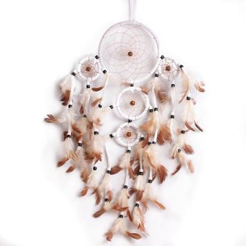 60-55cm Beautiful Dream Catcher hand-woven Dreamcatcher with White feathers for home wall decorations Car is hanged adorn