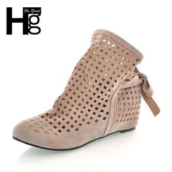 HEE GRAND Euro 34~43 Spring Autumn Hollow Out Perforated Women Boots Ankle Boot Inner