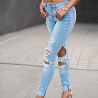 Women's fashion New Sexy High Waist Pencil Jeans Casual Blue Ripped Denim Pants Lady Long Skinny Slim Maxi Jeans Trousers = 5708510209