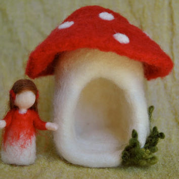 Needle felted Fairy House /Soft  Sculpture: Mushroom and fairy