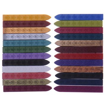2pcs/lot 24 colors Vintage Retro Sealing Wax Seal Dedicated Beeswax Stick Wax Strips Paint Stamp Rod Wax Grip Mount for Stamps